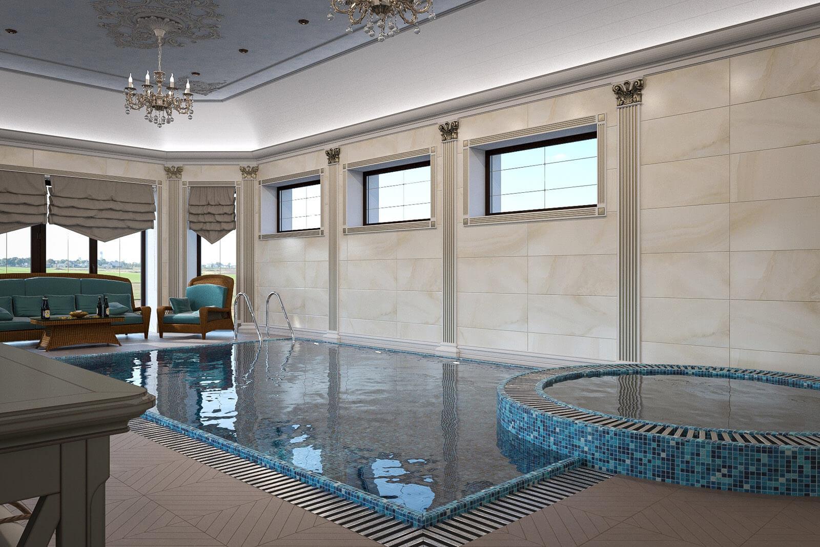 дом с бассейном внутри проект фото патио террасой
